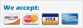 We Accept: Master, Visa, Amex, Discover